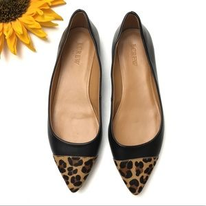 J Crew Leather Leopard Cap Toe Pointed Flats